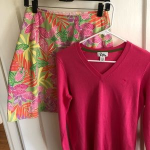 Lilly Pulitzer Set Reversible Skirt/Sweater, 8/M